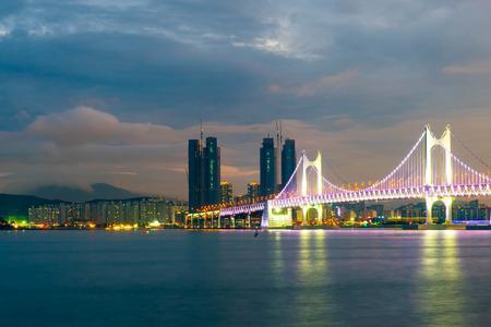 Gwangan Bridge with beautiful sky in Busan City , South Korea.