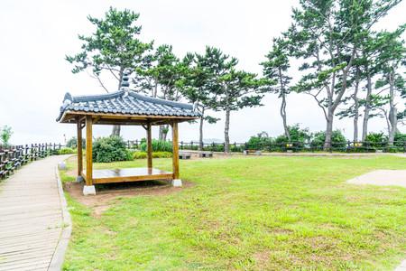 do: Korean Pavillian at Jeju-do Oedolgae Rock  Park in Jeju Island, South Korea