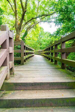 wood walkway in garden at Cheonjeyeon Falls , Jeju Island, South Korea. Stock Photo