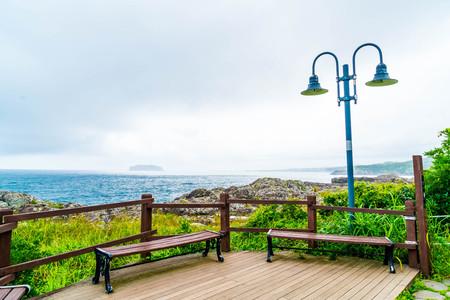 empty bench at Seaseom Park in Jeju Island, South Korea