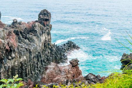Jungmun Daepo Coast Jusangjeolli Cliff, Jeju Island, South Korea Stock Photo