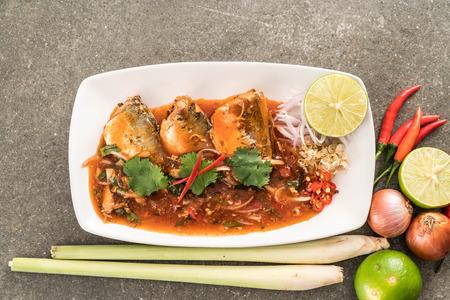 sardine can: spicy mackerel salad in tomato sauce