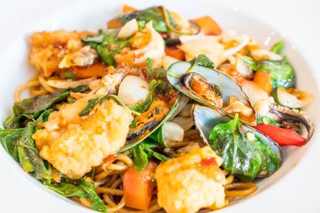 marinara sauce: stir-fried spicy seafood spaghetti - fushion food style