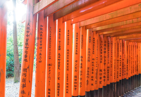Selective Focus Point - Red Tori Gate at Fushimi Inari Shrine in Kyoto, Japan.