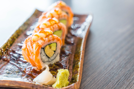grilled salmon sushi roll - japanese food