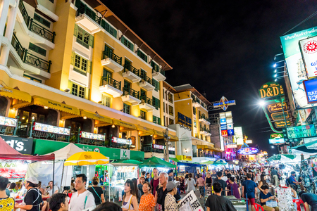 BANGKOK, THAILAND - JULY 27, 2017: Tourists and locals walk along popular backpacker destination Khao San Road. The area is famous for its street market in Thailand.