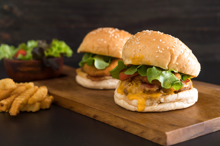 Close-up of home made fresh tasty burger - unhealthy food Stock Photo