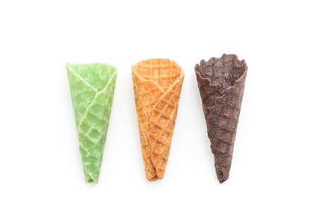 cornet: originan, green tea and chocolate wafer cone isolated on white background