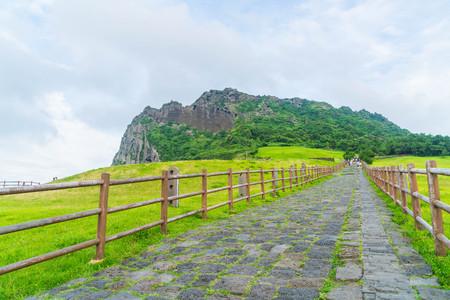 The Songaksan Mountain on Jeju Island in South Korea. Stock Photo