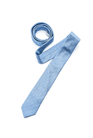 beautiful blue necktie isolated on white background