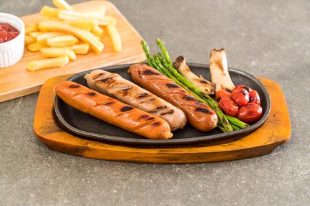 grilled sausage with vegetable on plate Reklamní fotografie