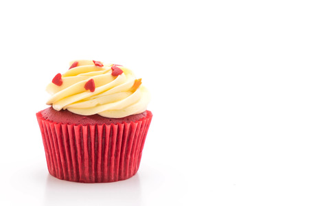 red velvet cupcake isolated on white background