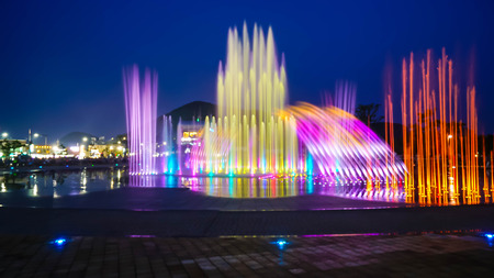 Blurred fountain show with lighting at Dadaepo in Busan, South Korea