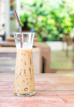 glass of iced expresso coffee in coffee shop