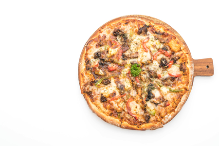 bbq pork pizza isolated on white background