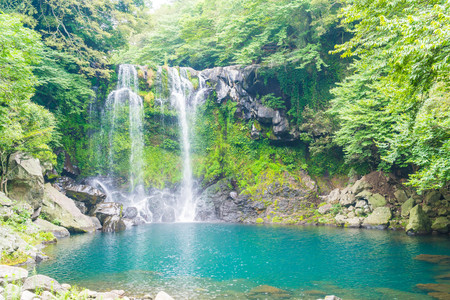 cheonjeyeon waterfalls in Jeju Isaland, South Korea