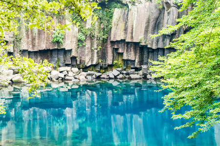cheonjeyeon waterfalls in Jeju Isaland, South Korea