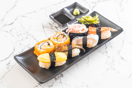 Set of sushi and maki roll - japanese food style