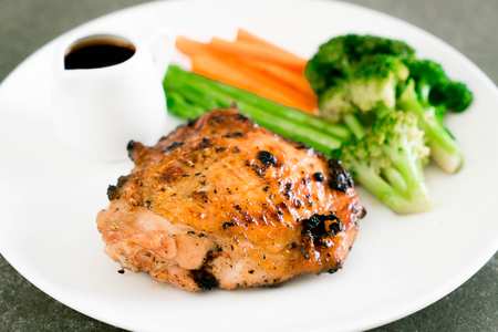 grill: grilled chicken steak with vegetable