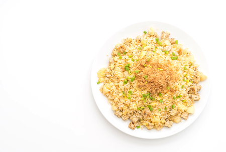 pineapple fried rice with dried shredded pork isolated on white background