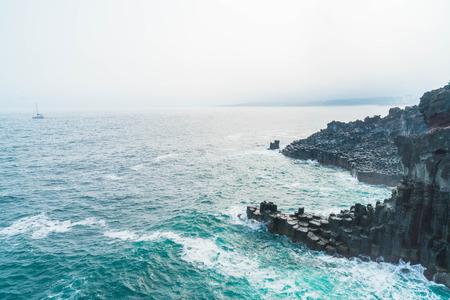 Jungmun Daepo Coast Jusangjeolli Cliff, Jeju Island, South Korea Reklamní fotografie