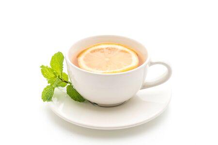 hot lemon tea isolated on white background Archivio Fotografico