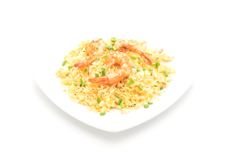 fried rice with shrimps isolated on white background