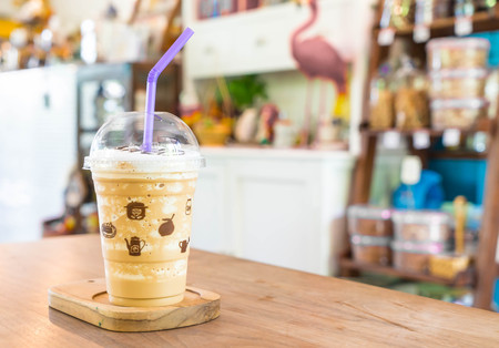 Iced cappuccino coffee frappe in cafe Stock Photo