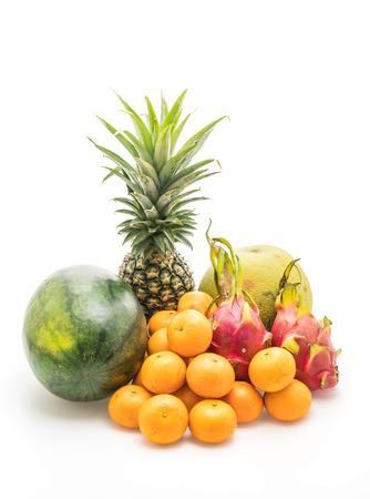 mix fruit (dragon fruit, orange, pineapple, watermelon and pomelo) isolated on white background