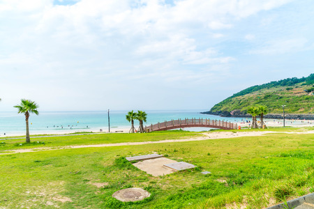 View point at hamdeok beach in Jeju Island, South Korea