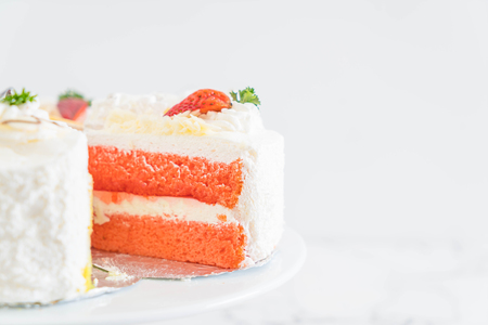 different pieces of cake on cake stand Stock Photo