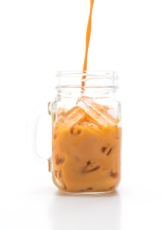 thai milk tea isolated on white background