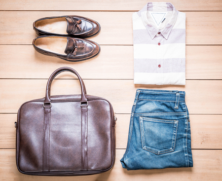 blue background: Clothing for men on the wooden background - vintage effect filter Stock Photo