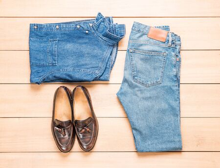 blue background: Beautiful fashion mens casual outfits clothing - vintage effect filter Stock Photo