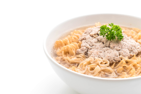 instant noodles with mince pork isolated on white background