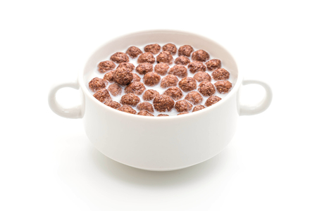 chocolate cereal bowl isolated on white background