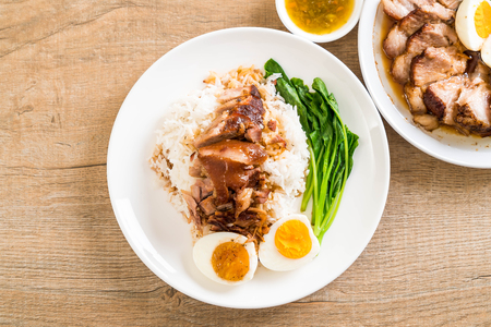 Stewed pork leg with rice and vegetable Stock Photo