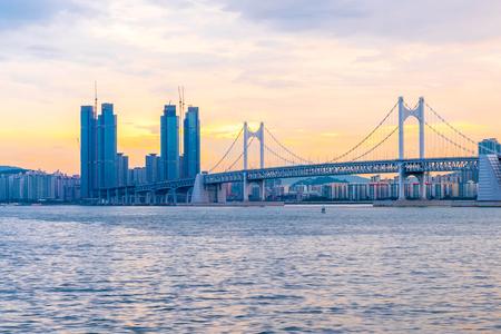 Gwangan Bridge with beautiful sky in Busan City , South Korea. Reklamní fotografie - 87088349