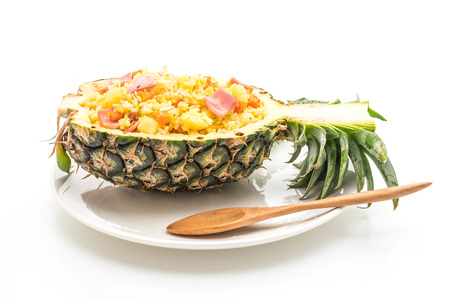 pineapple fried rice with ham isolated on white background Stock Photo