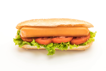 Hotdog with sausage and tomato isolated on white background Stock Photo
