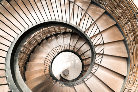 Spiral circle Staircase decoration interior - vintage effect filter