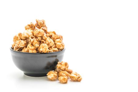 popcorn with caramel isolated on white background