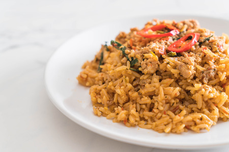 spicy fried rice with pork and basil - Thai food style