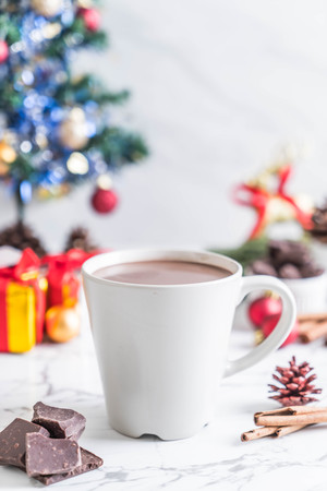 hot chocolate cup with christmas decoration - vintage effect filter