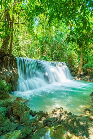 kanchanaburi: Beautiful Huay Mae Kamin Waterfall at Kanchanaburi in Thailand