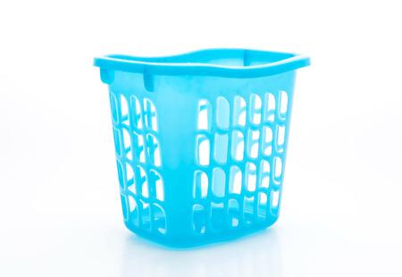 blue plastic basket isolated on white background Stock Photo