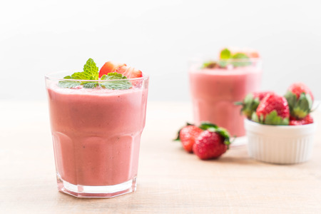 strawberry smoothies milkshake in glass