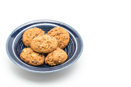 chocolate chips and cashew nut cookies isolated on white background
