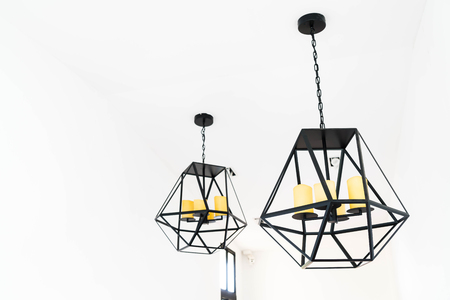 Interior room: modern hanging lamp decoration at home