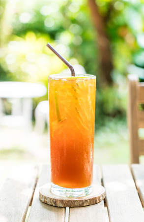 iced lemon tea in cafe Stock Photo